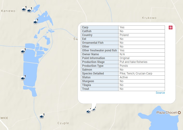 Fresh Water Aquaculture Map